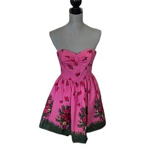 Betsey Johnson Meadow Print Strapless Fit & Flare